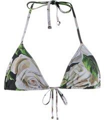 dolce & gabbana rose print bikini top - black