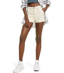 women's bp. raw hem cotton stretch twill utility shorts, size 28 - ivory