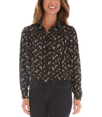 bcx juniors' floral crochet trim button front blouse