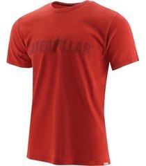 camiseta hombre slim fit caterpillar logo rojo cat