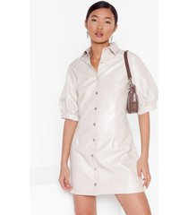 womens you're vinyl warning button-down shirt dress - off white