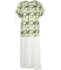3.1 phillip lim daisy print pleated t-shirt dress - yellow