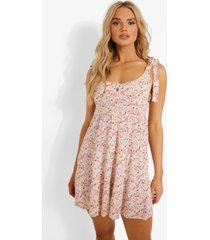 bloemenprint mini jurk met bandjes, pink