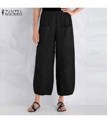 zanzea algodón de las mujeres a largo harem pantalones ocasionales anchas piernas pantalones floja de gran tamaño -negro