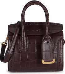 alexander mcqueen women's mini heroine 21 snake-embossed leather satchel - burgundy