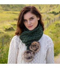 green aran bobble scarf