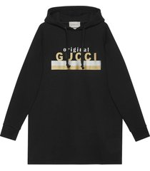 "gucci ""original gucci"" print hooded dress - black"