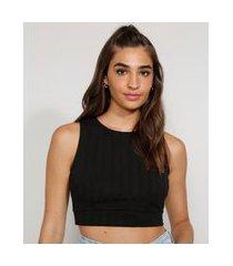 top cropped feminino com vazado sem manga decote redondo preto