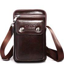 multi-funzionale 7 pollici telefono borsa vera pelle vita da lavoro borsa crossbody borsa per uomo
