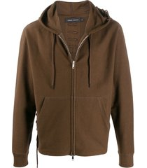 craig green lace-up detail zip-up hoodie - brown