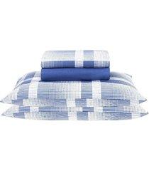 jogo de cama solteiro santista prata brodway, azul, 3 peças