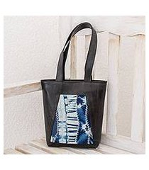 recycled rubber and cotton tote, 'lapis dream' (el salvador)