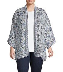 max studio women's plus woven crepe kimono - cream multi - size 1x (14-16)
