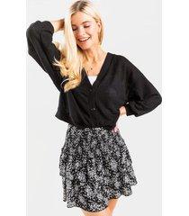 nia waffle knit cardigan - black