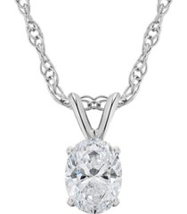 certified oval diamond solitaire pendant necklace (1/2 ct. t.w.) in 14k white gold or yellow gold