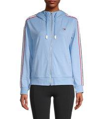 side-stripe zip-up hoodie