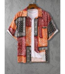 koyye hombre bohemio playa holiday paisley print color block camisa