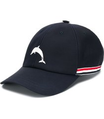 thom browne dolphin embroidered baseball cap - blue