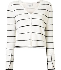 3.1 phillip lim striped ribbed cardigan - white