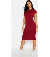 geribbelde bodycon jurk met kapmouwen, berry