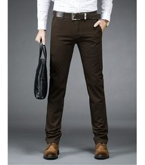 pantalones casual algodón formal gaupucean para hombre-verde