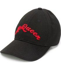 alexander mcqueen embroidered signature baseball cap - black