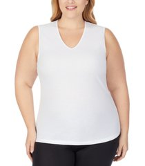 cuddl duds plus size softwear lace-edge v-neck tank top