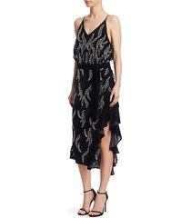 agenes embellished chiffon midi dress