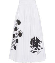 prada graphic-print poplin midi-skirt - white