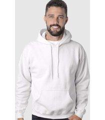 blusa de moletom branco liso suffix com capuz bolso moleton canguru blusão