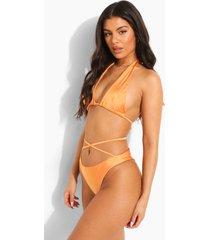 tropicana gekruiste korte bikini top, orange
