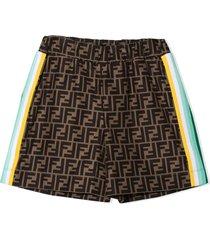 fendi brown ff logo shorts