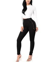 leggings de cintura alta negros con cordones cruzados diseño