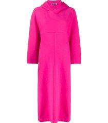 balenciaga cocoon hooded asymmetric dress - pink