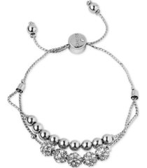 guess pave beaded double-row slider bracelet