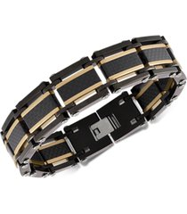 esquire men's jewelry two-tone square link bracelet in black & gold ion-plated stainless steel & black carbon fiber, created for macy's