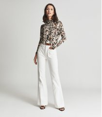 reiss bernie - floral printed top in neutral, womens, size xl