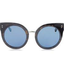 stella mccartney designer sunglasses, sc0036s round cat eye acetate women's sunglasses