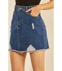 dark blue button and zipper design ripped skirt
