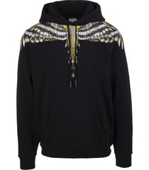 marcelo burlon man black and yellow grizzly wings hoodie