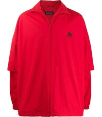 red double sleeve jacket