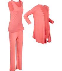 top, giacca, pantaloni sostenibili (set 3 pezzi) (rosa) - bpc bonprix collection