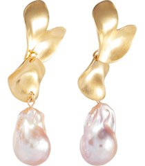 freshwater pearl gold plated scallop drop earrings