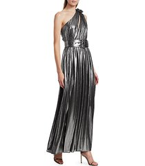 andrea belted one-shoulder metallic maxi dress