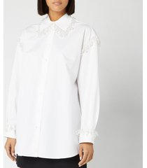 christopher kane women's pearl cotton poplin shirt - white - it 40/uk 8 - white
