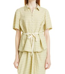 rebecca taylor stripe tie front cotton blend shirt, size x-large in lime at nordstrom