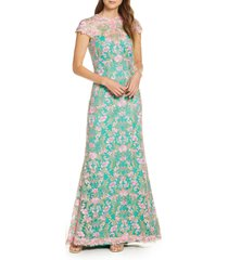 women's tadashi shoji floral lace gown, size 16 - green