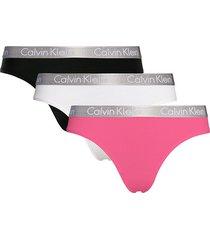 calvin klein 3-pack strings roze/wit/zwart - m8c