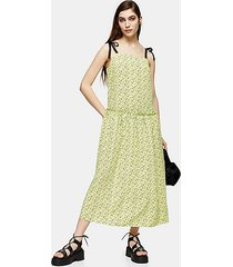 lime green floral drop waist midi dress - lime