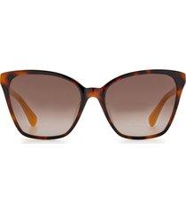 kate spade new york amiyah 56mm gradient polarized cat eye sunglasses in yellow havana/brown gradient at nordstrom
